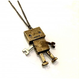 Bronze Robot Necklace with Gem Eyes