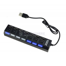 7 Port USB Hub with Individual Switches