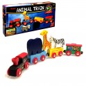 Wooden Train Set with Animals