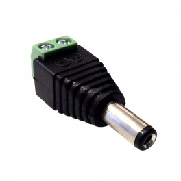 Male DC Plug Adapter with Screw Terminals: 5.5x2.1mm