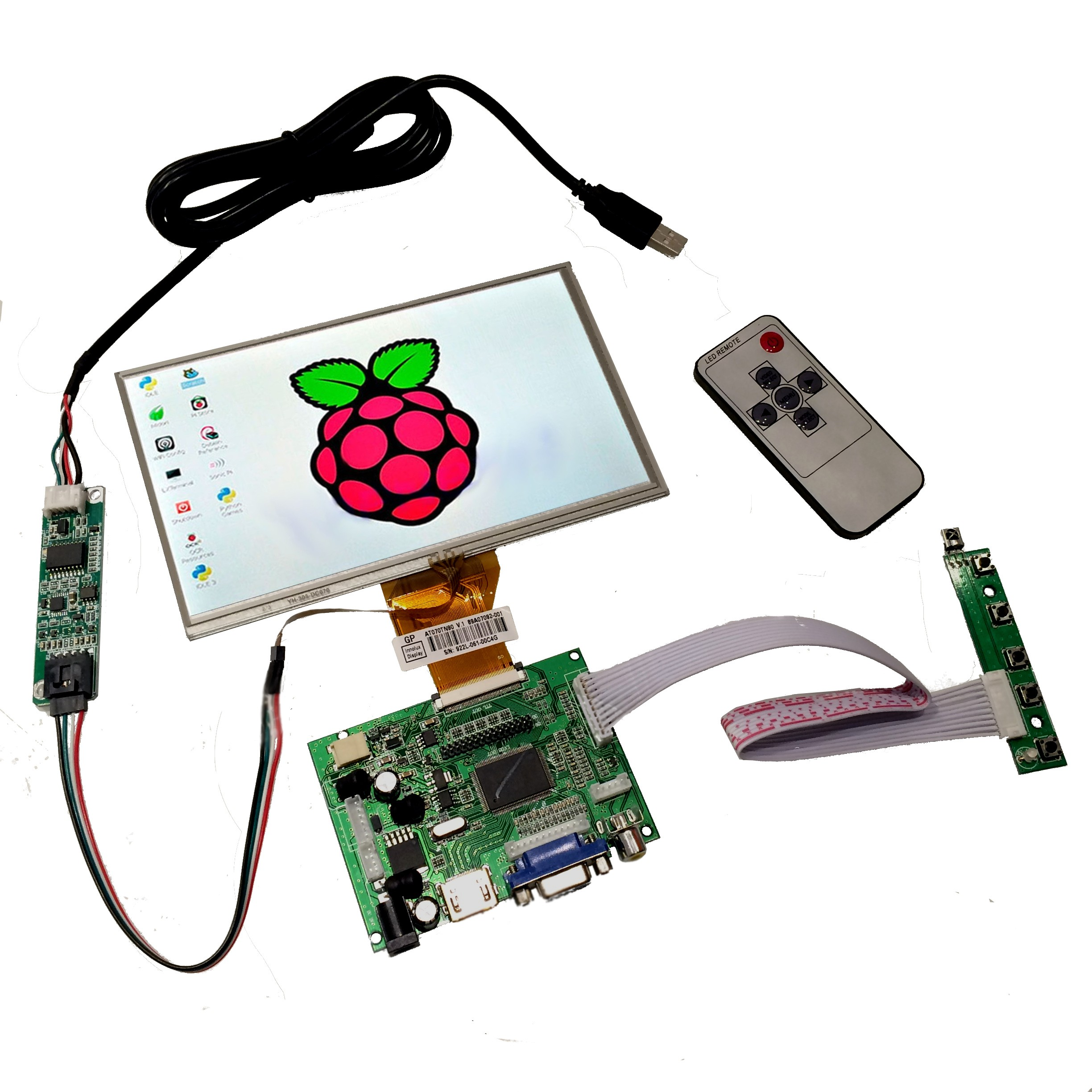 7499 7 Inch Raspberry Pi Touch Screen With Hdmi Input Tinkersphere Led Voltmeter 5012 Psu Batt Chargers Electronic Components