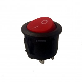 Round Red Rocker Switch SPST 2 Pin