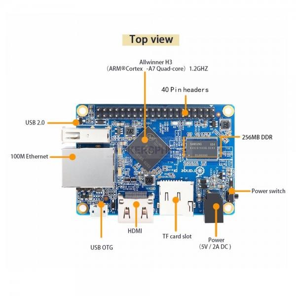 Orange Pi One: 512MB RAM 1 2Ghz Quad-Core Processor