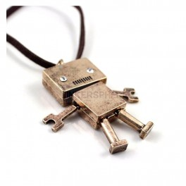 Bronze Robot Necklace with Gem Eyes & PU Leather Chain