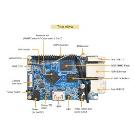 Orange Pi PC Plus ARM A7 Quad Core 1.6GHz 1G DDR3 8GB EMMC Flash WiFi RJ45 HDMI