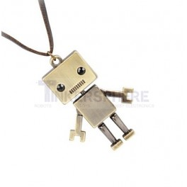 Bronze Robot Necklace with Black Gem Eyes & PU Leather Chain