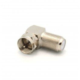 RG6 Coax F Type Male to Female Right Angle Adapter