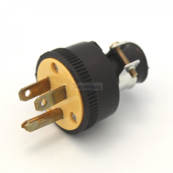 $7.99 - Male Edison Connector - 3 Prong Grounded Power - Tinkersphere