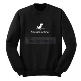 6d5885a7013921  24.99 - You Are Offline Chrome Dinosaur Sweatshirt - Tinkersphere