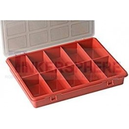 "Red 10-Grid Organizer Box 9.45"" x 7.09"" x 1.38"""