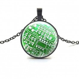 Black Circuit Board Necklace