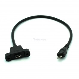 Panel Mount Micro USB Male to Female Cable