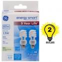 GE energy smart Spiral CFL 13 Watt T3 Spiral 2-Pack