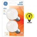 GE Soft White 40 Watt G16.5 Incandescent Globe 2-Pack