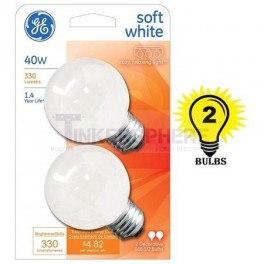 GE Soft White 40 Watt G16.5 Incandescent Globe 2-Pack