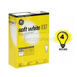 GE Soft White Light Bulb 100W 4 pack