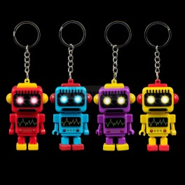 Light Up Eyes Robot Keychain