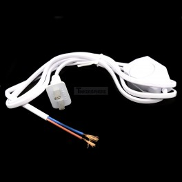 White Power Cord with Dimmer Switch AC 250V/110V US Plug