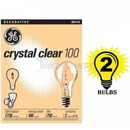 GE Crystal Clear Decorative Bulbs, Crystal Clear, 100 Watts - 2 bulbs