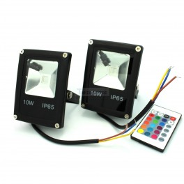 2 Pack - 10W RGB Waterproof LED Flood Lights By Remote Controller, LED Security Light for Outdoor & Indoor Usage