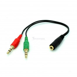 Microphone and Headphone Splitter Female to Male