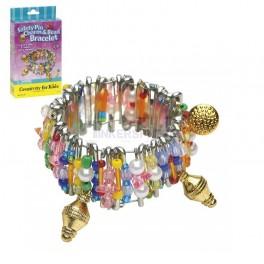 Safety Pin Charm & Bead Bracelet