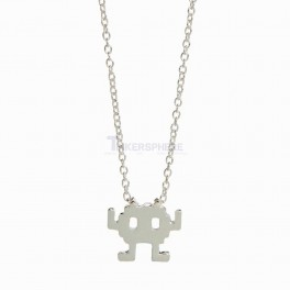 Silver Plated Space Invader Robot Necklace