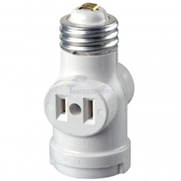 Leviton 15 Amp White Residential Grade Medium Base Lampholder Outlet Adapter R52