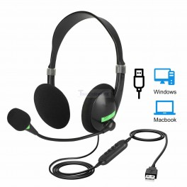 Usb Headset W/ Microphone Noise Cancelling Computer Headphone For PC USB