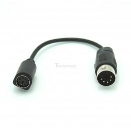 MIDI Plug  to Mini 6 Pin DIN Female Adapter Cable - 6 Inch