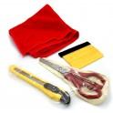 Vinyl Application Tool Set Including Felt Squeegee, Utility Knife, Microfiber Towel and Scissors