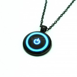 Power Button Necklace Black Glass Pendant Metal Alloy Chain